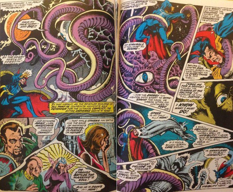 Strange affronte l'entité lovecraftienne Shuma-Gorath